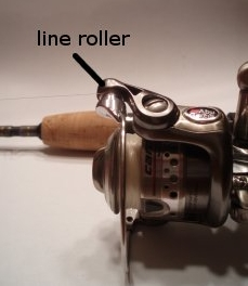 fishing reel line roller